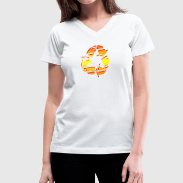 Recycle Symbol Emblem - Graffiti Style Graphic Design  - Women's V-Neck T-Shirt
