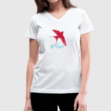 Red bird with blue believe - Women's V-Neck T-Shirt
