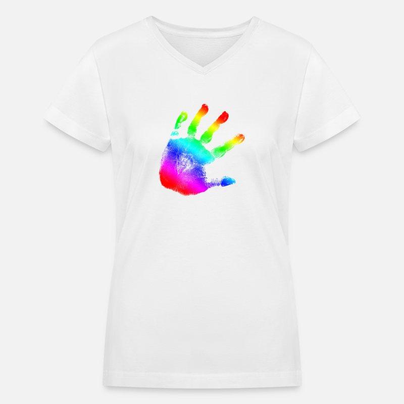 022edb8eb Hand print - Rainbow - Imprint, Fingerprint, palm, high five perfect for  hoodies, tshirts, tanks, iphone cases, ipad cases, etc! Women's V-Neck T-Shirt  | ...