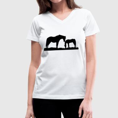 Horse, horses - Women's V-Neck T-Shirt