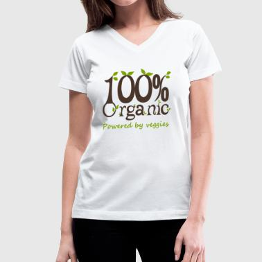 100% Organic Powered By Veggies - Women's V-Neck T-Shirt