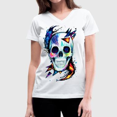 Cool Skull - Women's V-Neck T-Shirt