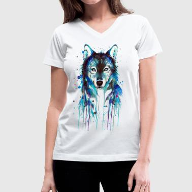Blue Wolf - Women's V-Neck T-Shirt