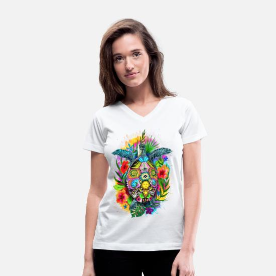 Animal T-Shirts - Hang Loose Turtle - Women's V-Neck T-Shirt white