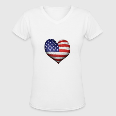 Heart Shaped Usa Flag - Women's V-Neck T-Shirt