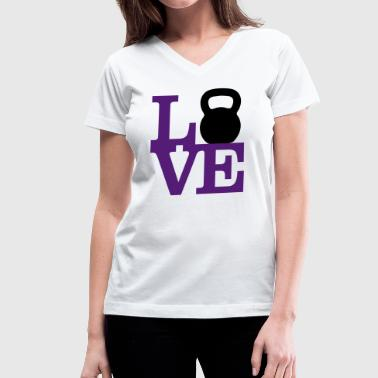 Love Kettlebells - AMRAP Style - Women's V-Neck T-Shirt