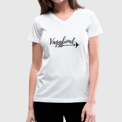 Vagabond Black Script - Women's V-Neck T-Shirt