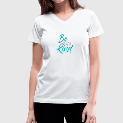 BE one of a KIND Blue and Pink - Women's V-Neck T-Shirt