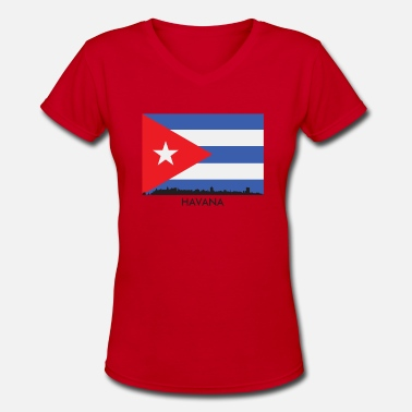 Flag Havana Havana Cuba Skyline Cuban Flag - Women's V-Neck T-Shirt