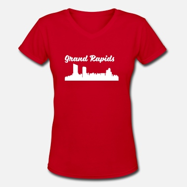 Grand Rapids Mi Grand Rapids MI Skyline - Women's V-Neck T-Shirt
