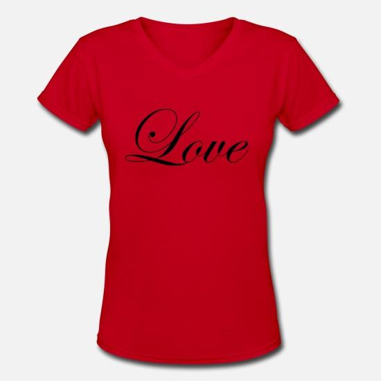 eb9fe88d3 Love - Fancy Cursive Design (Black Letters) Women's V-Neck T-Shirt ...