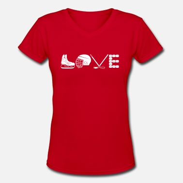 Girls Hockey Love Hockey Shirt - Women's V-Neck T-Shirt