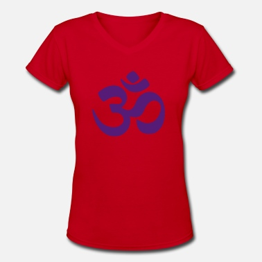 India Om Om - Symbol of the Absolute - Women's V-Neck T-Shirt