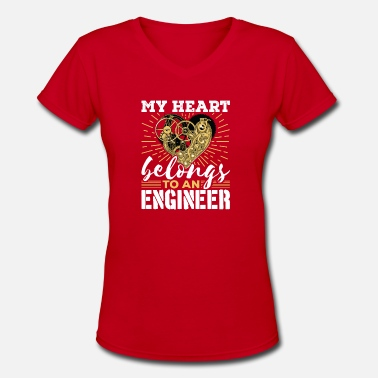 Engineering Girlfriend Engineer Wife Girlfriend Heart Belongs To Engineer - Women's V-Neck T-Shirt
