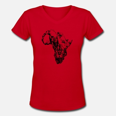 African Safari SAFARI AFRICAN MAP - Women's V-Neck T-Shirt