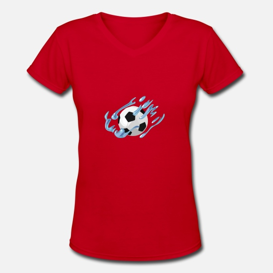 Soccer T-Shirts - Soccer Ball - Women's V-Neck T-Shirt red