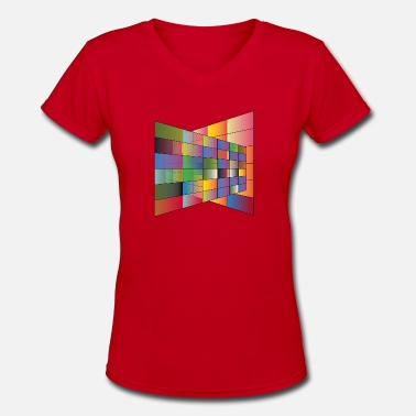Multi Multi Color plane with lines - Women's V-Neck T-Shirt