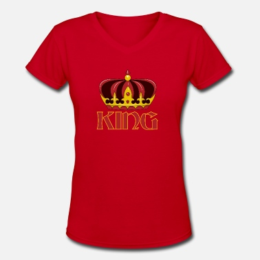 King Red Gold dark red gold king crown - Women's V-Neck T-Shirt