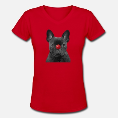 Nose Red Nose Day Frenchie - Women's V-Neck T-Shirt