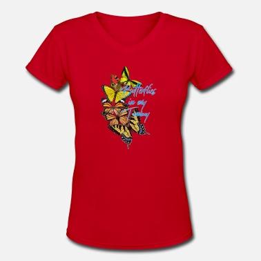 982aa92bf1a4c Tummy butterflies in my tummy - Women's V-Neck T-