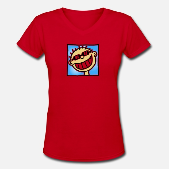 Grin T-Shirts - A Grinning Tourist - Women's V-Neck T-Shirt red