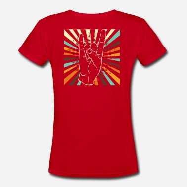 Electro Vintage rock and roll hand - Women's V-Neck T-Shirt