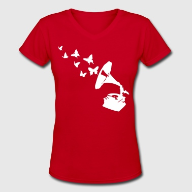gramophone_butterflies - Women's V-Neck T-Shirt