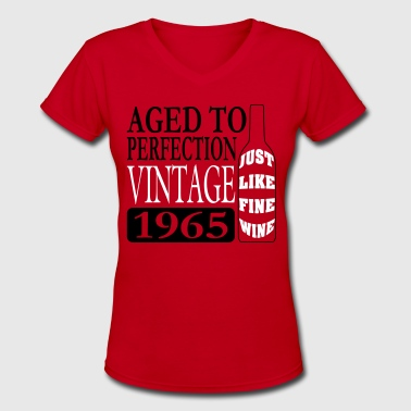 Vintage 1965 Fine Wine Birthday Vector - Women's V-Neck T-Shirt