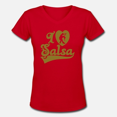 Salsa Club I Love Salsa Dancing T-Shirt Design - Women's V-Neck T-Shirt