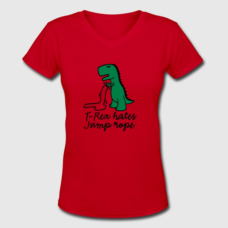 T-Rex hates jump rope - Women's V-Neck T-Shirt