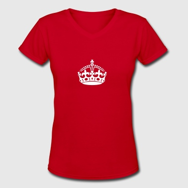 Keep Calm british crown - Women's V-Neck T-Shirt