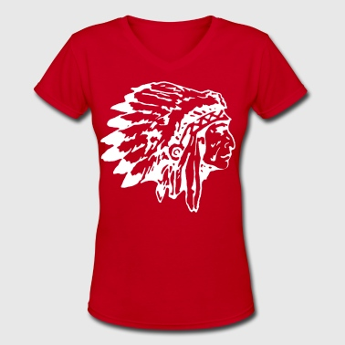 Native Indian Chief with Headress - Women's V-Neck T-Shirt