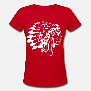 Headdress Native Indian Chief with Headress - Women's V-Neck T-Shirt