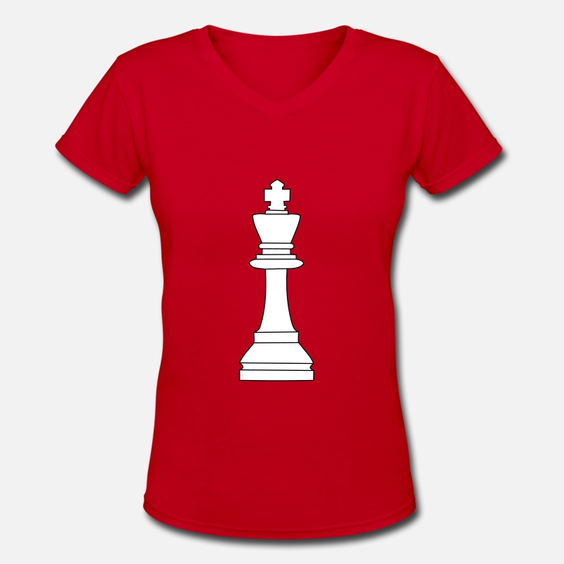Chess T-Shirts - King, chess pieces King - Women's V-Neck T-Shirt red