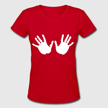 Handprints - Women's V-Neck T-Shirt
