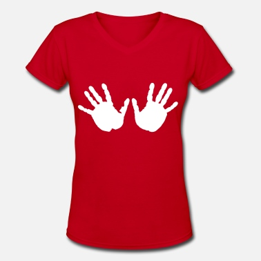 Boobs Handprint Handprints - Women's V-Neck T-Shirt
