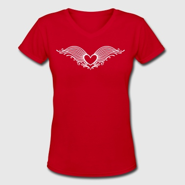Filigree heart with wings. Winged heart. - Women's V-Neck T-Shirt