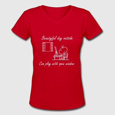 Minimalist Nerd Beautiful Day - minimalistic game design - Women's V-Neck T-Shirt
