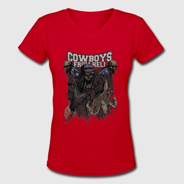 Skull Cowboys from Hell Cyber System - Women's V-Neck T-Shirt