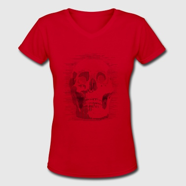 Ascii skull - Women's V-Neck T-Shirt