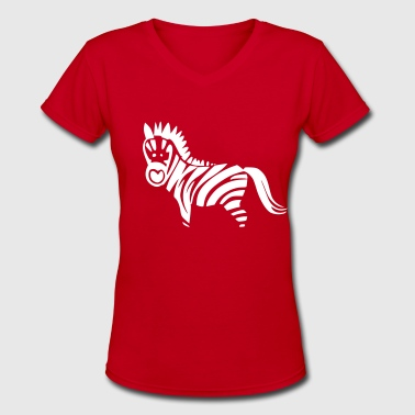 Wild Animal Wild Animals Zebra Wild Animal - Women's V-Neck T-Shirt