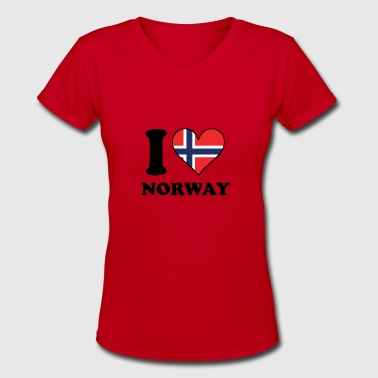 I Love Norway Norwegian Flag Heart - Women's V-Neck T-Shirt