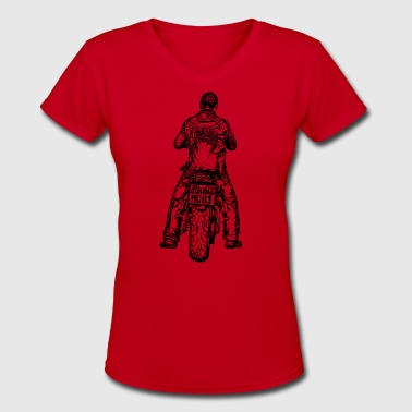 Vector Bike Sketch motorcycle biker bike tatoo image vector - Women's V-Neck T-Shirt