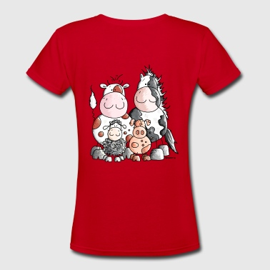 Funny Farm Animals - Women's V-Neck T-Shirt