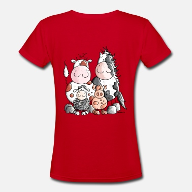 Farm Animal Cartoon Funny Farm Animals - Women's V-Neck T-Shirt
