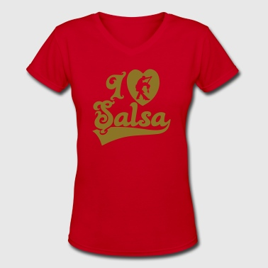 I Love Salsa Dancing T-Shirt Design - Women's V-Neck T-Shirt