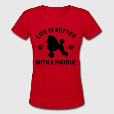 poodle design - Women's V-Neck T-Shirt