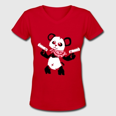 Cuddly Panda With Gun - Women's V-Neck T-Shirt