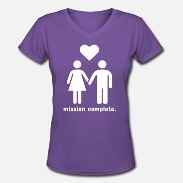 Mission Complete Mission Complete | In Love - Women's V-Neck T-Shirt