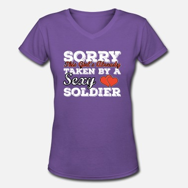 Army Girlfriend Soldier T-Shirt Present Birthday Gift Idea Funny - Women's V-Neck T-Shirt